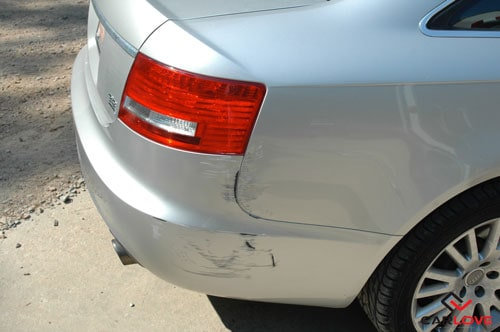 Silver Audi scratched in Columbia, South Carolina